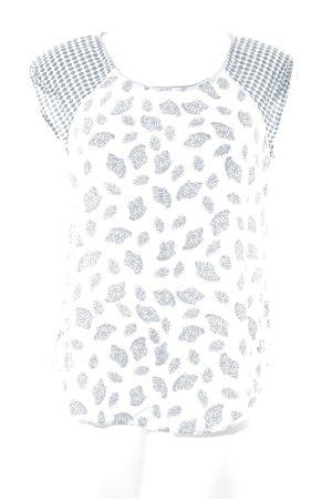 Saint Tropez ärmellose Bluse weiß-grau florales Muster