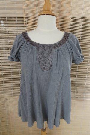 SAINT TROPEZ Bluse mit Paillettenbesatz Baumwolle Gr. S