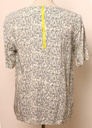 Saint Tropez Bluse Shirt M 36 38 weiß blau gelber Reisverschluss Sommer