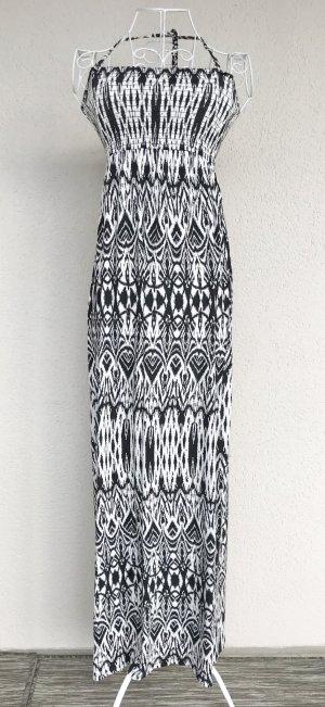 Saint Tropez Maxikleid Sommerkleid schwarz/weiß Gr.XS Ethno Boho Hippie
