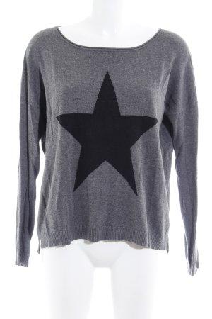 Saint Tropez Rundhalspullover schwarz-grau Sternenmuster Casual-Look
