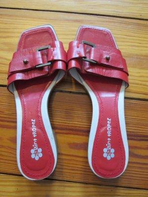 Saint Tropez Sandalen Sandaletten rot Leder Gr. 37