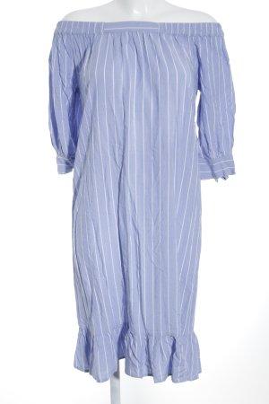 Saint Tropez schulterfreies Kleid himmelblau-wollweiß Streifenmuster