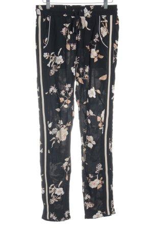 Saint Tropez Pantalón elástico negro-crema estampado floral look casual