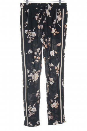 Saint Tropez Stretchhose schwarz-creme florales Muster Casual-Look