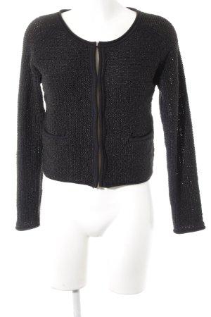 Saint Tropez Giacca in maglia nero Motivo a maglia leggera stile casual