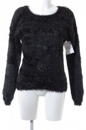 Saint Tropez Strickpullover schwarz Streifenmuster Party-Look