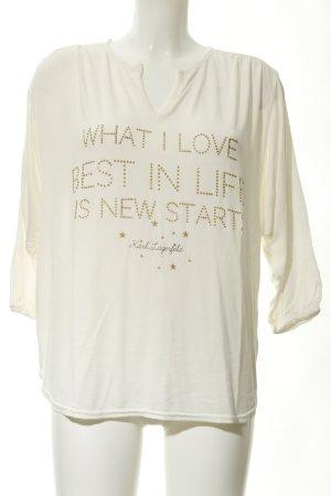 Saint Tropez Sweatshirt creme Schriftzug gedruckt schlichter Stil