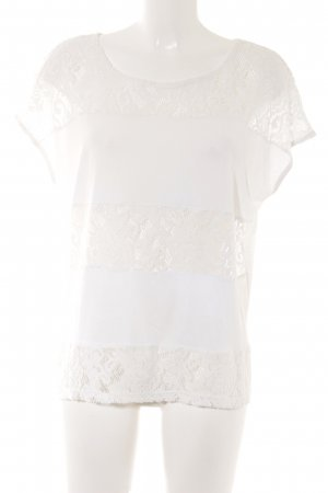 Saint Tropez T-Shirt weiß Spitzen-Optik