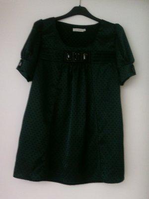 Saint Tropez Glanzende blouse zwart-bos Groen