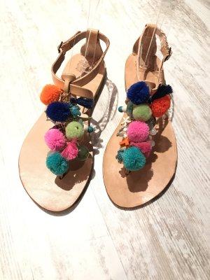 Sale !!! -20% Wunderschöne Leder Sandalen pompom
