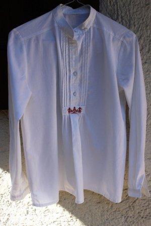 Blusa de lino blanco-rojo oscuro