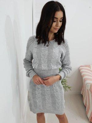 Gebreide jurk lichtgrijs