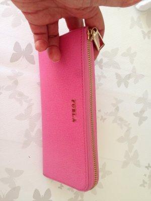 SALE: ausgefallene Furla Ledergeldbörse in Pink m. RV, Staubbeutel+Schachtel