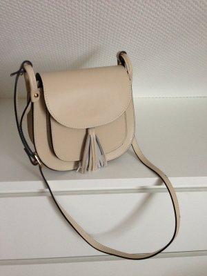 SALE % bis 18.01. Tasche Blogger-Style Echt Leder Creme
