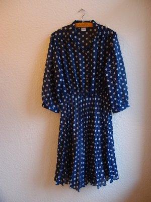SALE - Blaues DDR Vintage-Kleid mit weißen Punkten