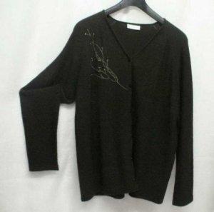 SALE %%% Cardigan mit Wolle dunkelgrün XL mit Stickerei