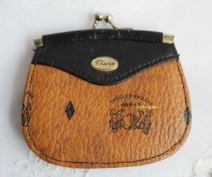 Vintage Portemonnee zandig bruin-zwart