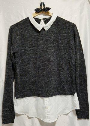 SALE!! Dünner Pullover mit Hemdeinsatz Gr. 36/38