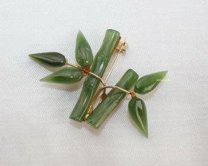%%% SALE %%%  echte Jade Brosche Bambus Design