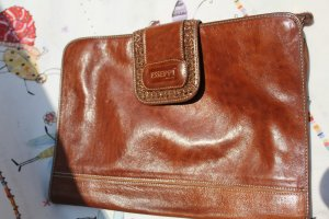 Laptop bag cognac-coloured leather