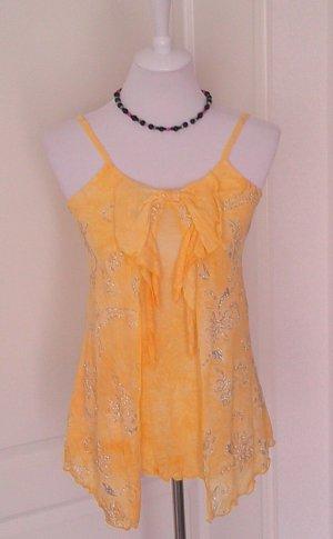 Sale% gelbes Träger-Shirt/Top/Spaghettiträger, mit Glitzer,Partyshirt,Gr.S/36