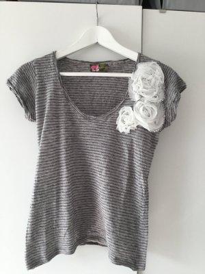 "SALE - grau gringeltes Shirt mit Blüten ""Hanami"""