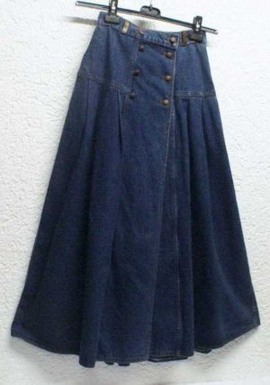 SALE %%% His Glockenrock Vintage Jeansrock geknöpft Rock blau