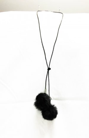 Statement Necklace black-silver-colored leather