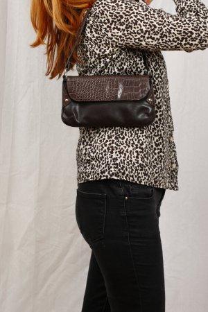 SALE Kleine braune Tasche - Lederimitat und Schlangenhaut-Design