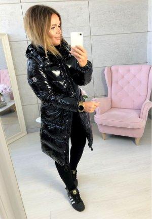%SALE% Langer Mantel NEU ✔Schwarze Damen Jacke -  Wet Look Lack Glänzend Blogger Mantel Größe 40