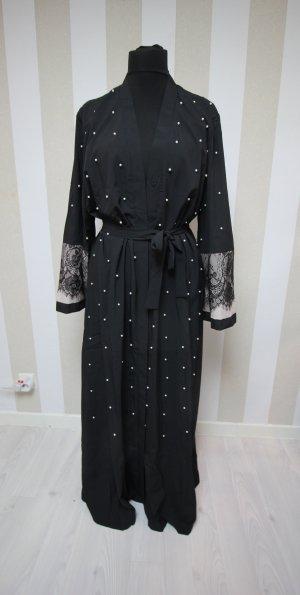 Floor-Lenght Coat black-white polyester