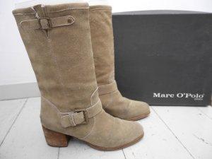 SALE! Marc o Polo 40: Wildleder Schlupf- Weitschaft- Stiefel in Sand