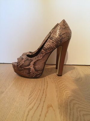 SALE Peeptoe High Heels in Schlangenlederoptik