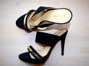 *SALE*POLLINI High Heels schwarz / gold, Sandaletten mit Plateau