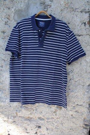 Camiseta tipo polo azul oscuro-blanco Algodón