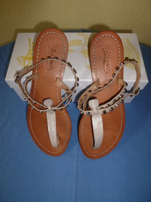 Sandalo toe-post argento Pelle