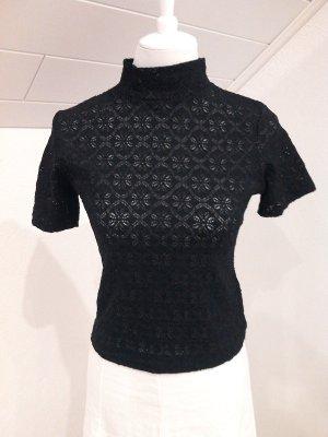 Sale%%Pullover/Rollkragen-Shirt,schwarz,in halbdurchsichtiger Spitze,Gr.S/36