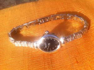 Watch With Metal Strap silver-colored-black metal