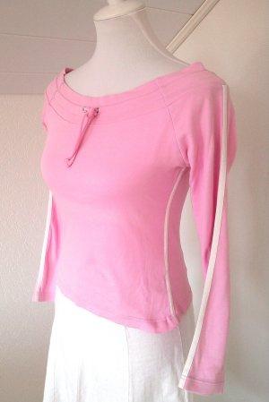 Sale%rosa Langarm-Shirt im Adidas-Stil von AMISU, mit weißen Streifen,Gr. S