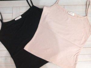 Sale%Schickes Basic Top,Spaghetti-Shirt,schwarz,rosa,Orsay,Gr.S/36