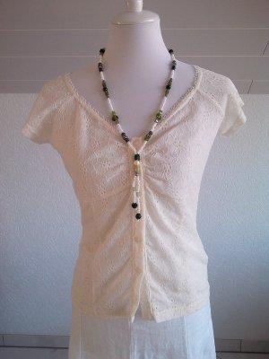 Sale%%schöne Spitzenbluse/Bluse/Shirt/Top,cremefarben,Raspberry,Gr. S/36