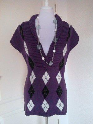 Sale%%♡schöner Pullunder/Pulli/Shirt in lila mit weiß-schwarzen Karos,Gr.S/M♡