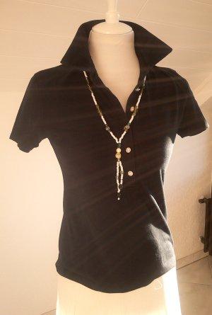 Sale!schönes schwarzes Shirt/Bluse mit edelen Knöpfen-Glitzer-Poloshirt,Gr.38/S