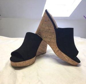 H&M Zomerschoenen met hak zwart-lichtbruin Imitatie leer