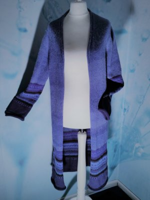 Knitted Coat blue alpaca wool