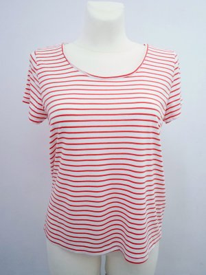 SALE! SOAKED in LUXURY: L ° T-Shirt ° Breton ° Baumwolle ° Rot-Weiß ° TOP!