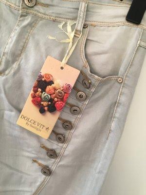 Dolce Vita Five-Pocket Trousers light grey-camel cotton