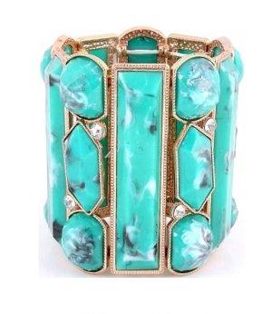 SALE Statement Ethno Boho Hippie Luxus Armband Bracelet Mint Minz Türkis Turquoise Schwarz Weiß Grau mit Kristall klar Transparent 7,5 cm Breit