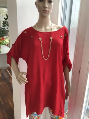 Blouse oversized rouge-doré polyester